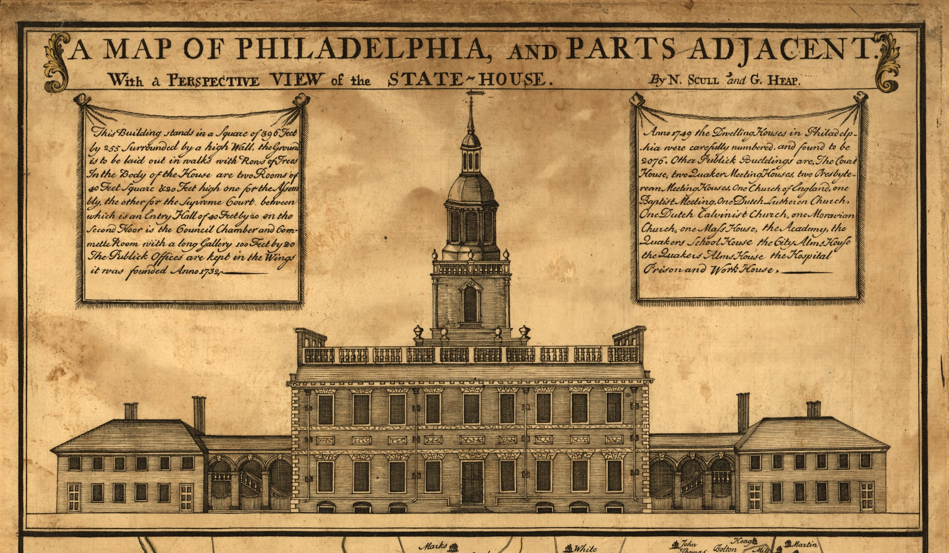 Detail of north elevation of Pennsylvania State House (Independence Hall), from 1752 map of Philadelphia, Pennsylvania. The image shows the original bell tower, which lacked a clock.