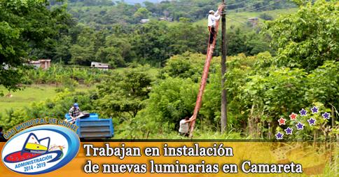 Trabajan en instalación de nuevas luminarias en Camareta