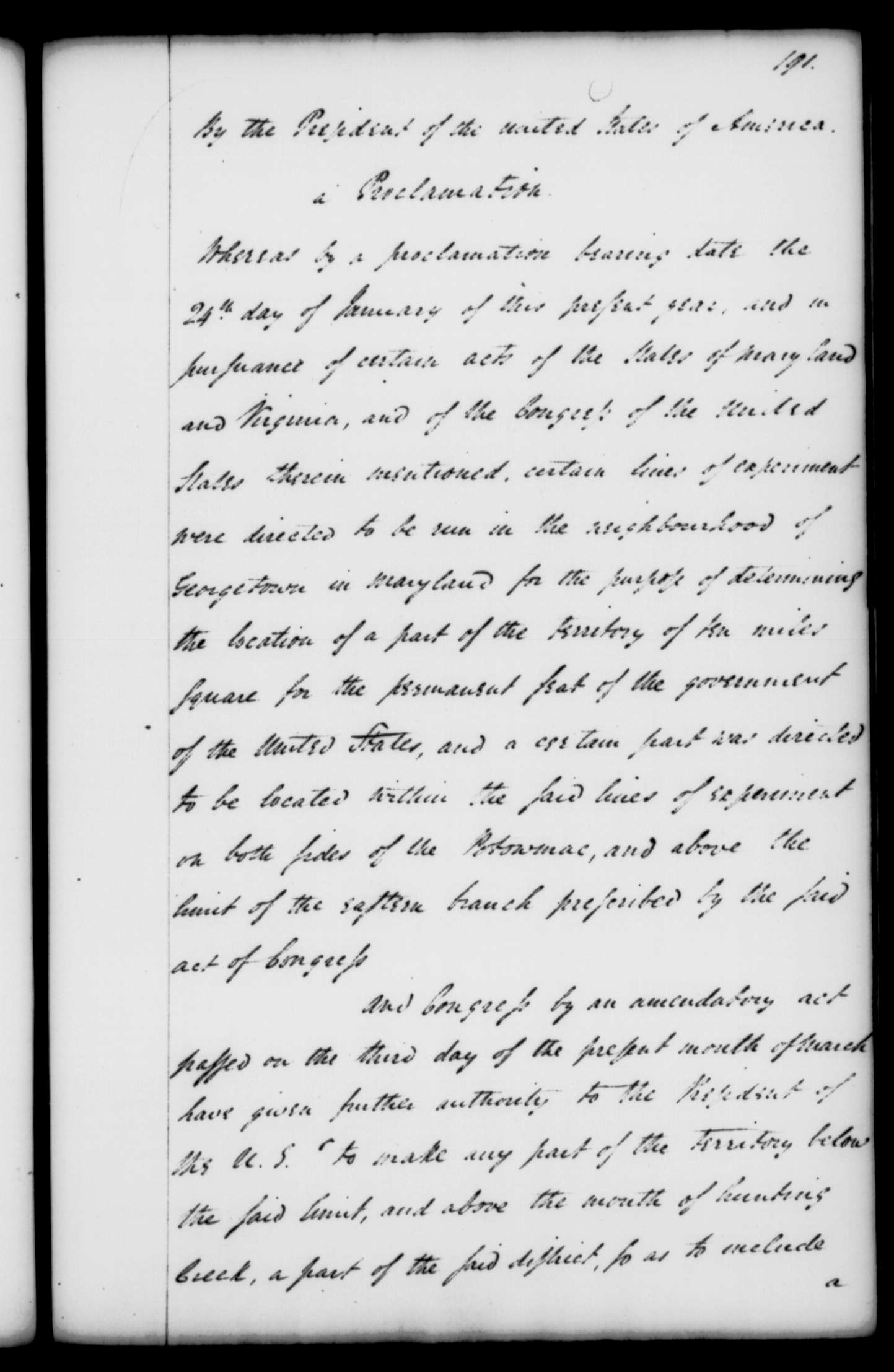 Proclamation written by President George Washington on March 30, 1791, specifying the boundaries of the proposed Federal capital, Washington D.C.