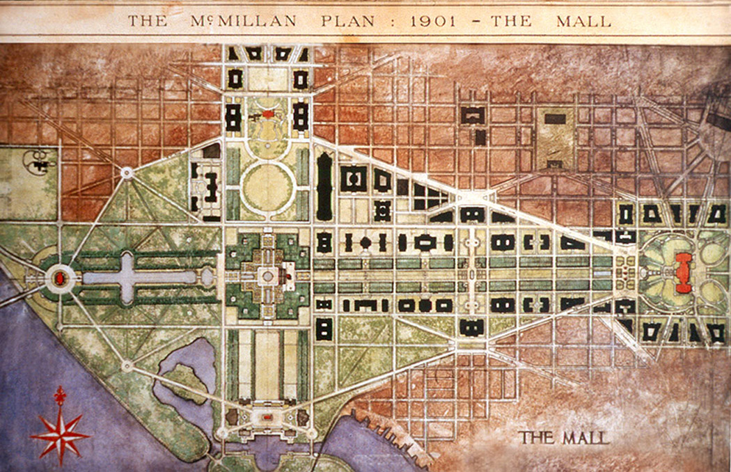 The National Mall was the centerpiece of the 1901 McMillan Plan. A central pathway traversed the length of the Mall.