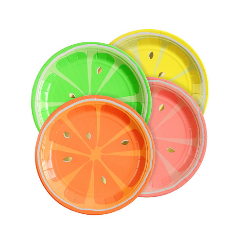 Neon Tropical Fruit Plates