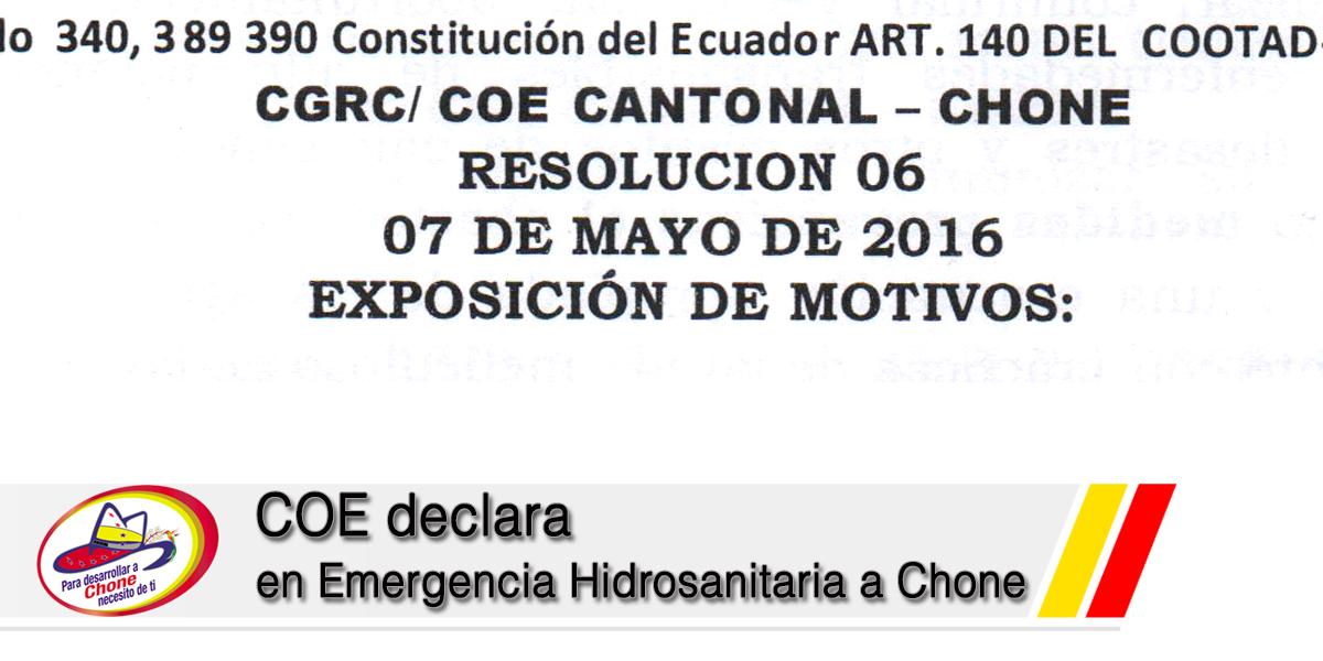 COE declara en Emergencia Hidrosanitaria a Chone