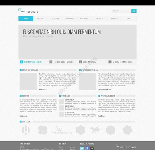 Corporate Blue – PSD website layout for Photoshop