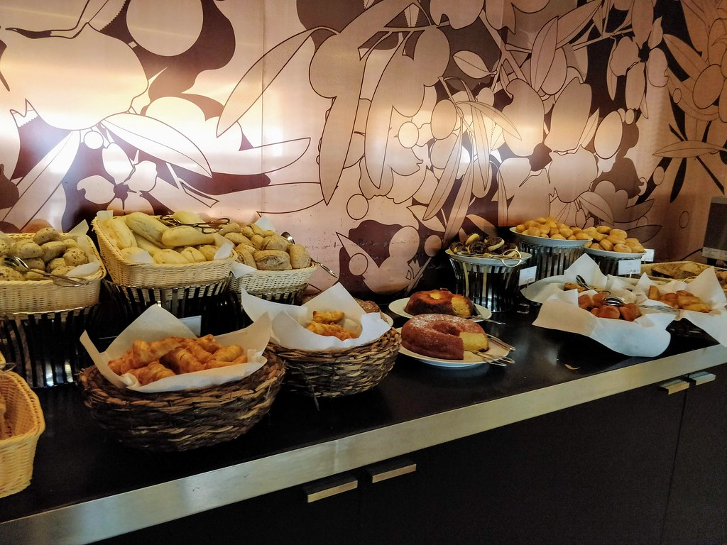 Pastries and bread at the breakfast buffet