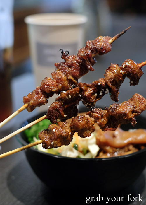Spicy bulgogi beef brisket; chicken giblet; and spice pepper with cumin lamb skewers at Granny Wolf BBQ in Central Park Mall Sydney
