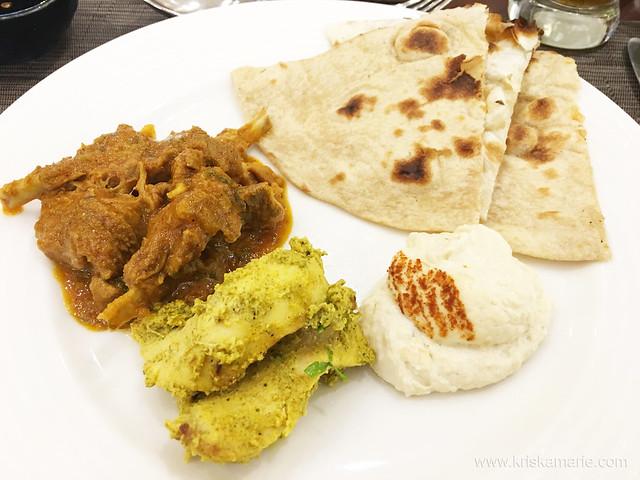 Mutton Korma, Chicken Kebab, Hummus, and Roti