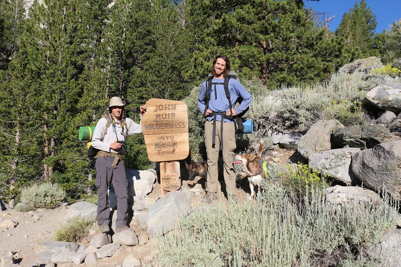 Posing at the John Muir Wilderness Boundary Sign on the North Fork Big Pine Creek Trail