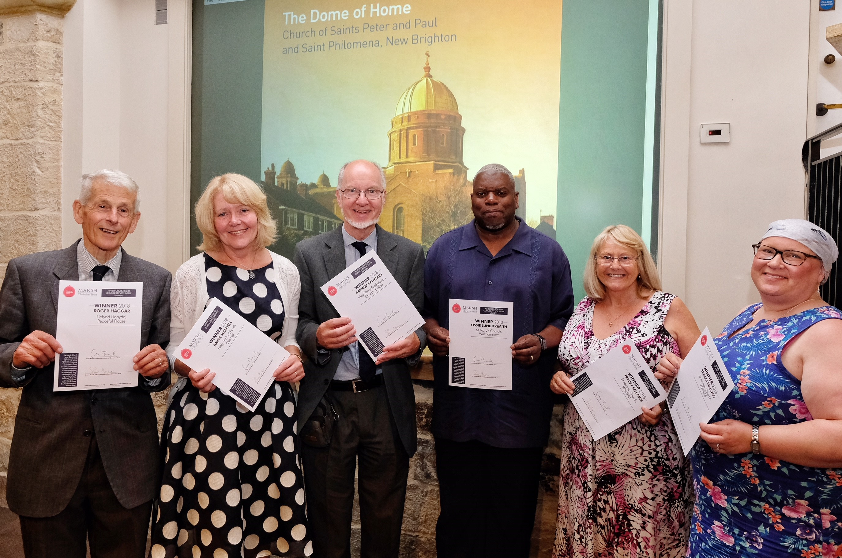 Winners of Marsh Church and Community Volunteer Awards: Roger Haggar; Anita Mansell; Arthur Acheson; Ossie Lundie-Smith; Joyce Phillips (guest of Tracey Fellows); Tracey Fellows c Mike Swift