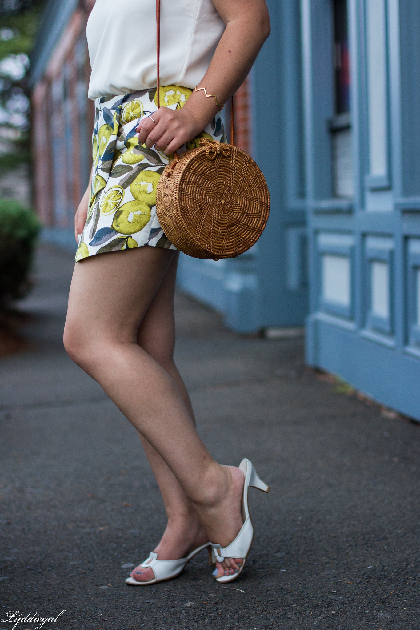 Lemon print skort, scalloped cami, round straw bag, ferragamo slides-7.jpg