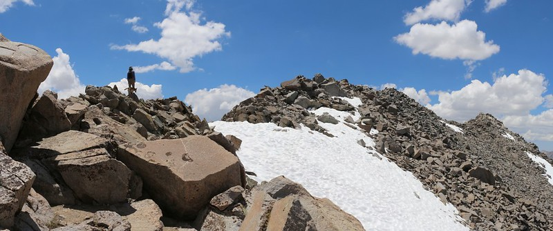 We're nearing the summit on the northeast ridge of Cloudripper Peak