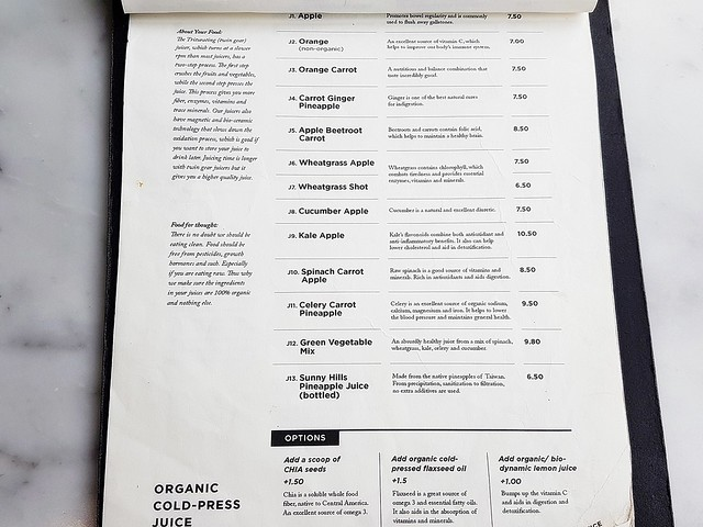 Menu Organic Cold-Pressed Juices