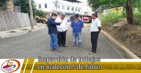 Inspección de trabajos en malecón 5 de Junio