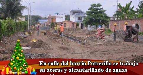 En calle del barrio Potrerillo se trabaja en aceras y alcantarillado de aguas servidas