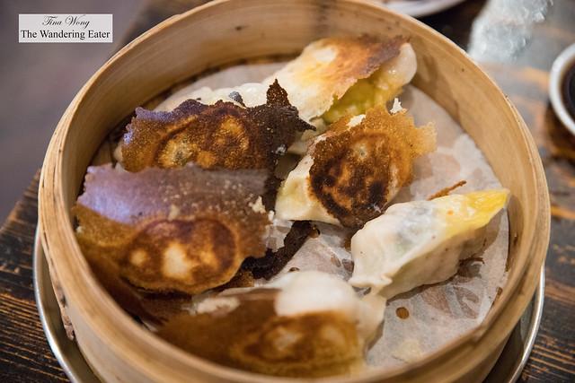 Shrimp and wood ear mushrooms jiaozi (餃子) dumplings