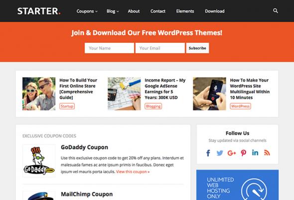 Starter Pro v1.7 - WordPress Blog and Coupon Theme