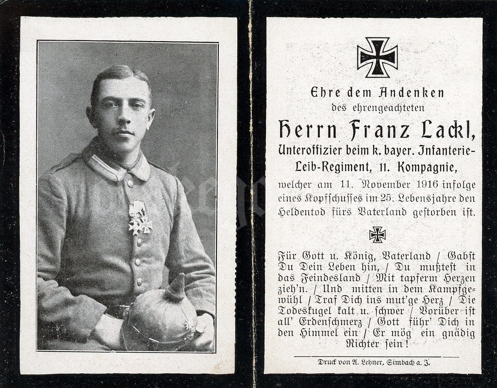 Sterbebild for unteroffizier franz xaver lackl königlich bayerisches infanterie leib regiment 11