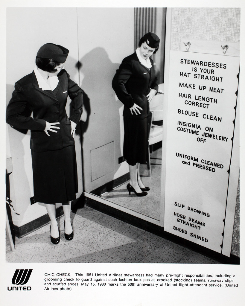 Pre-flight stewardess responsibilities for United Airlines, 1951. (SDASM Archives)