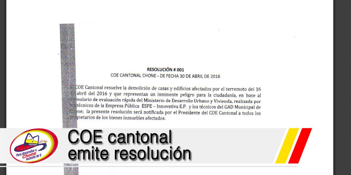 COE cantonal emite resolución
