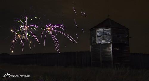 fireworks firework national park fort outdoor landscape washington night light painting cat