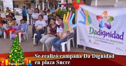 Se realizó campaña Da Dignidad en plaza Sucre
