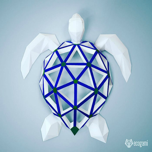 Ecogami Low Poly Paper Sea Turtle Model