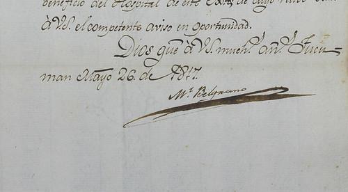Detalle de la firma de Manuel Belgrano, en documentos conservado en Archivo Histórico de la Provincia de Córdoba