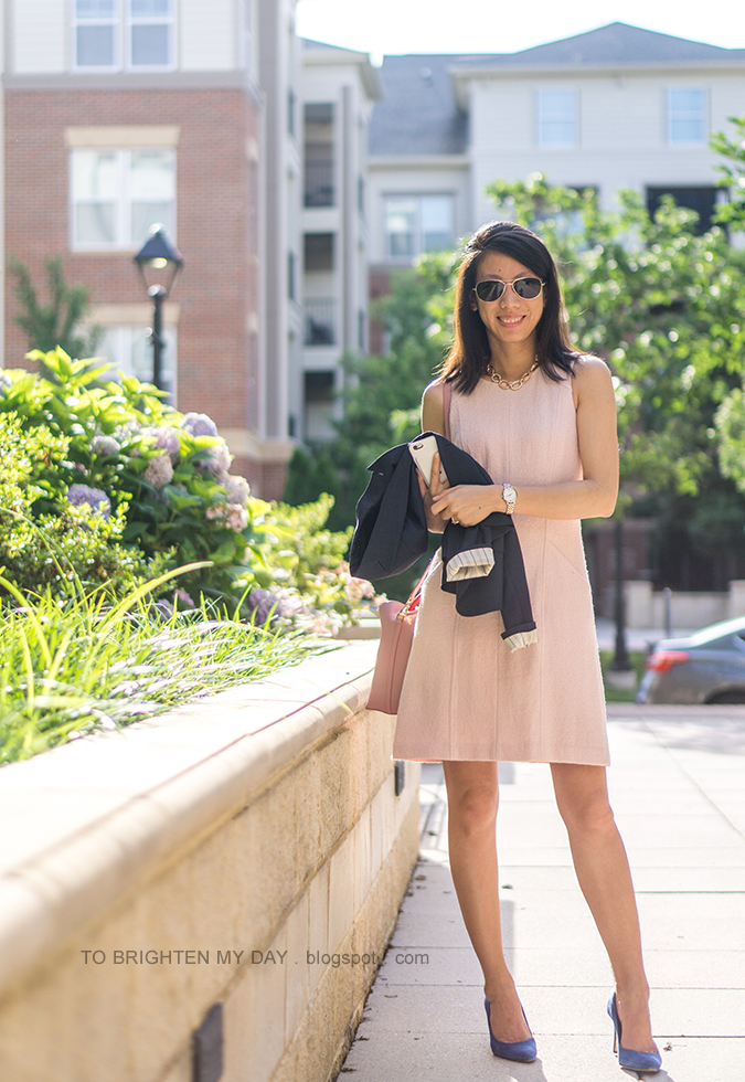 rose gold pave chain necklace, pink wool shift dress, navy blazer, two tone colored watch, morganite ring, pink bucket bag, blue suede pumps