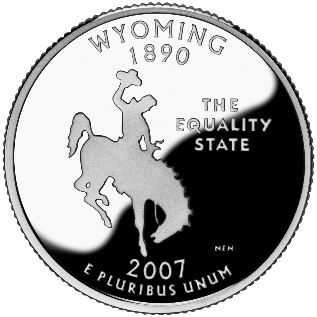 "The Wyoming entry in the United States Mint's State Quarters program was released on September 3, 2007, featuring a bucking horse and rider with the caption ""The Equality State."" The engraver was Norman E. Nemeth and a total of 564,400,000 coins were minted."