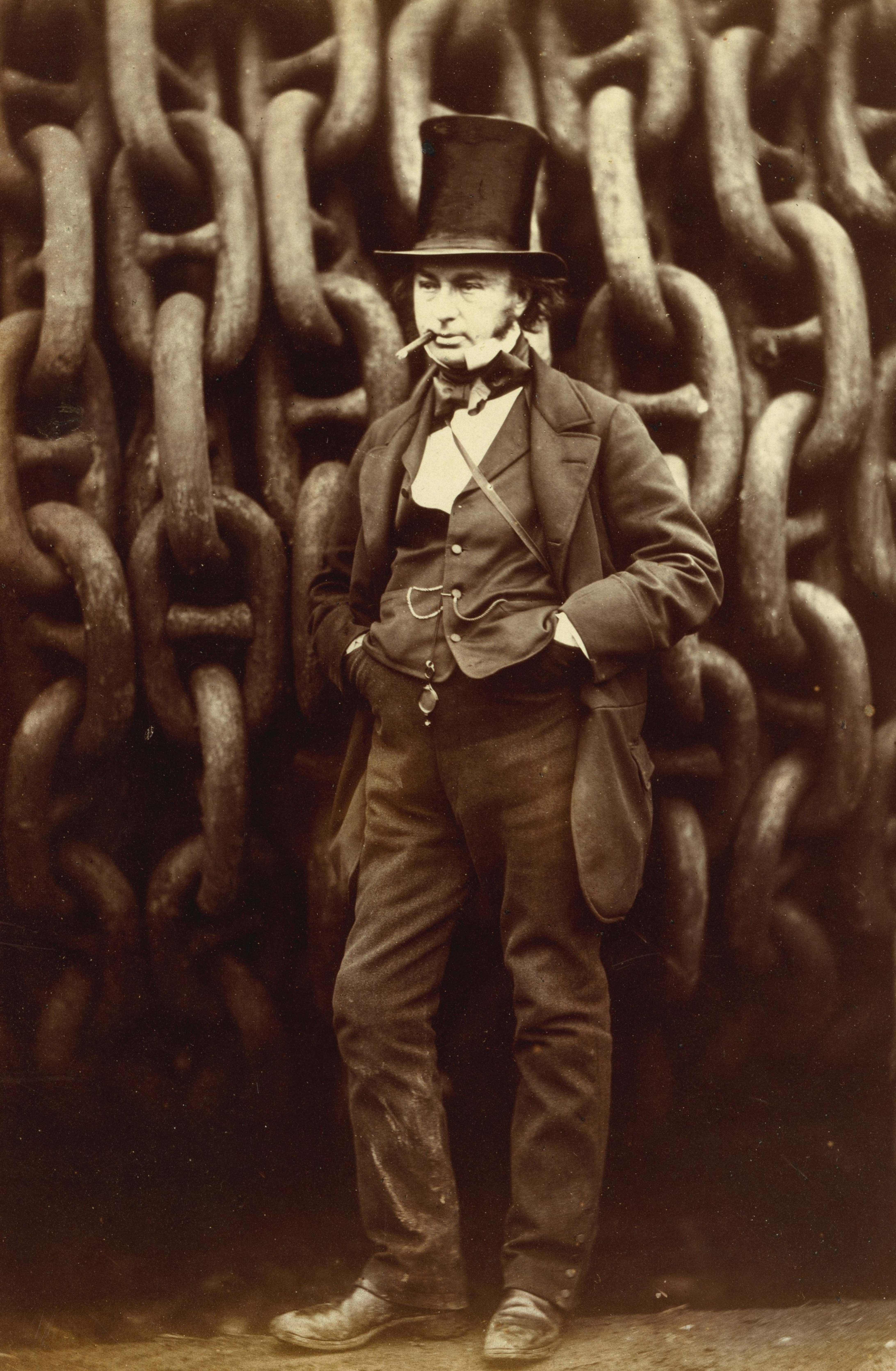 Isambard Kingdom Brunel Standing Before the Launching Chains of the Great Eastern, photograph by Robert Howlett. Now in the collection of the Metropolitan Museum of Art.
