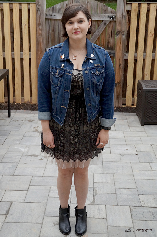 lace dress jean jacket