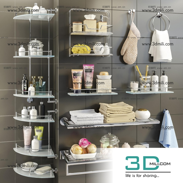 3dSkyHost:  Bathroom accessories 3dsmax File Free Download