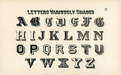 Different types of shadings on fonts from Draughtsman's Alphabets by Hermann Esser (1845–1908). Digitally enhanced from our own 5th edition of the publication.