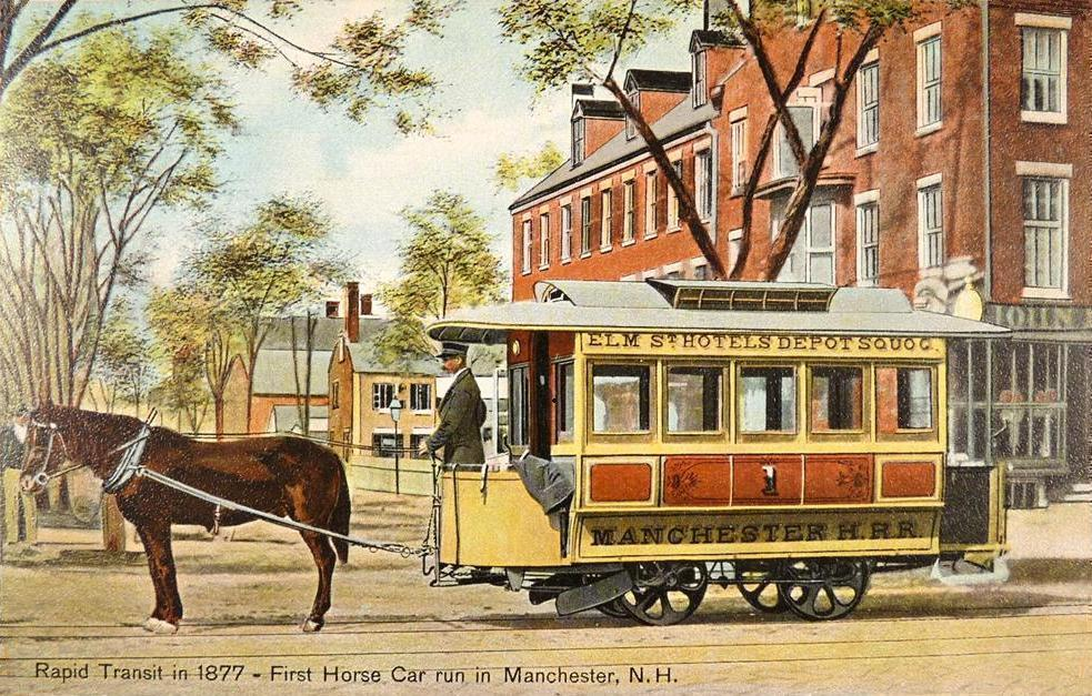 Horsecar in Manchester, New Hampshire, 1877