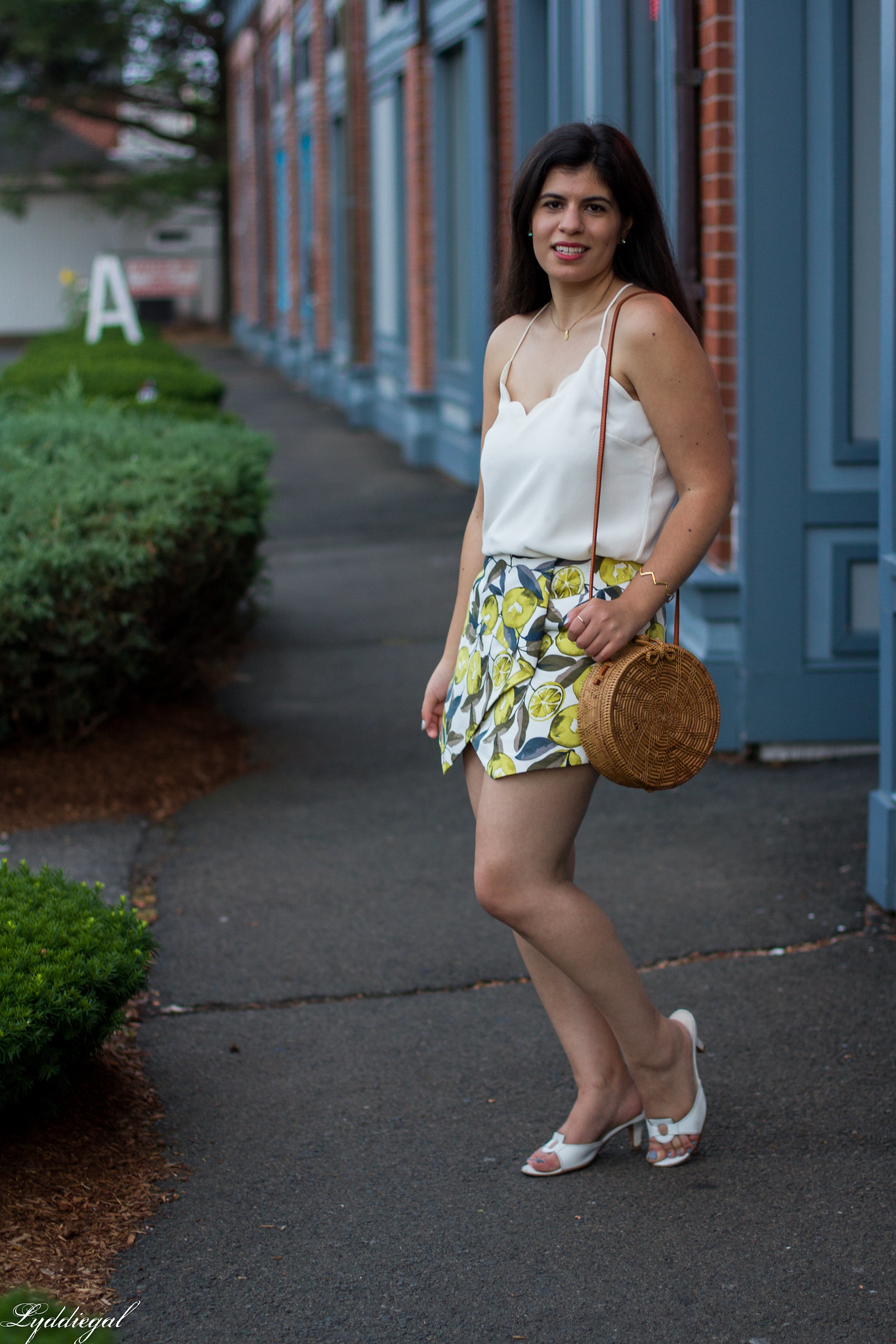 Lemon print skort, scalloped cami, round straw bag, ferragamo slides-3.jpg
