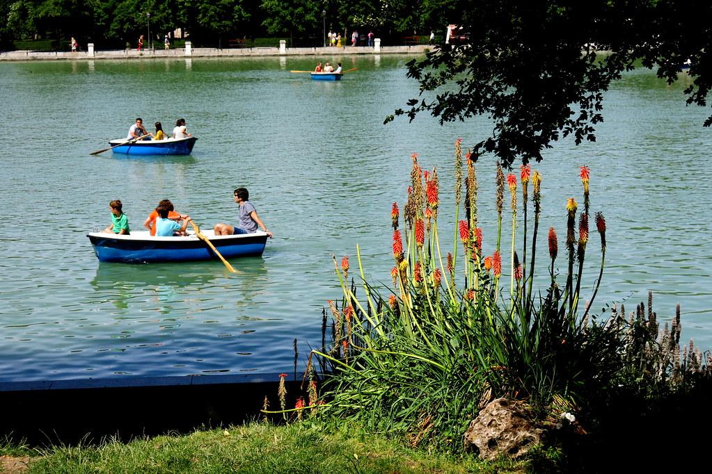 Kniphofia 'Amsterdam' y estanque de El Retiro