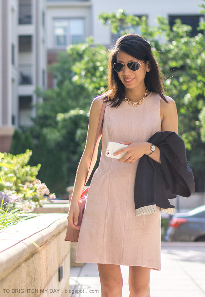 rose gold pave chain necklace, pink wool shift dress, navy blazer, two tone colored watch, morganite ring, pink bucket bag
