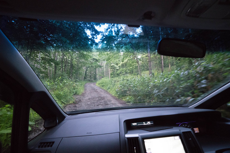 田代山登山口に向かう悪路