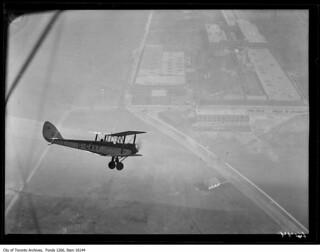 De Havilland DH.60 Moth in flight over Leaside Aerodrome