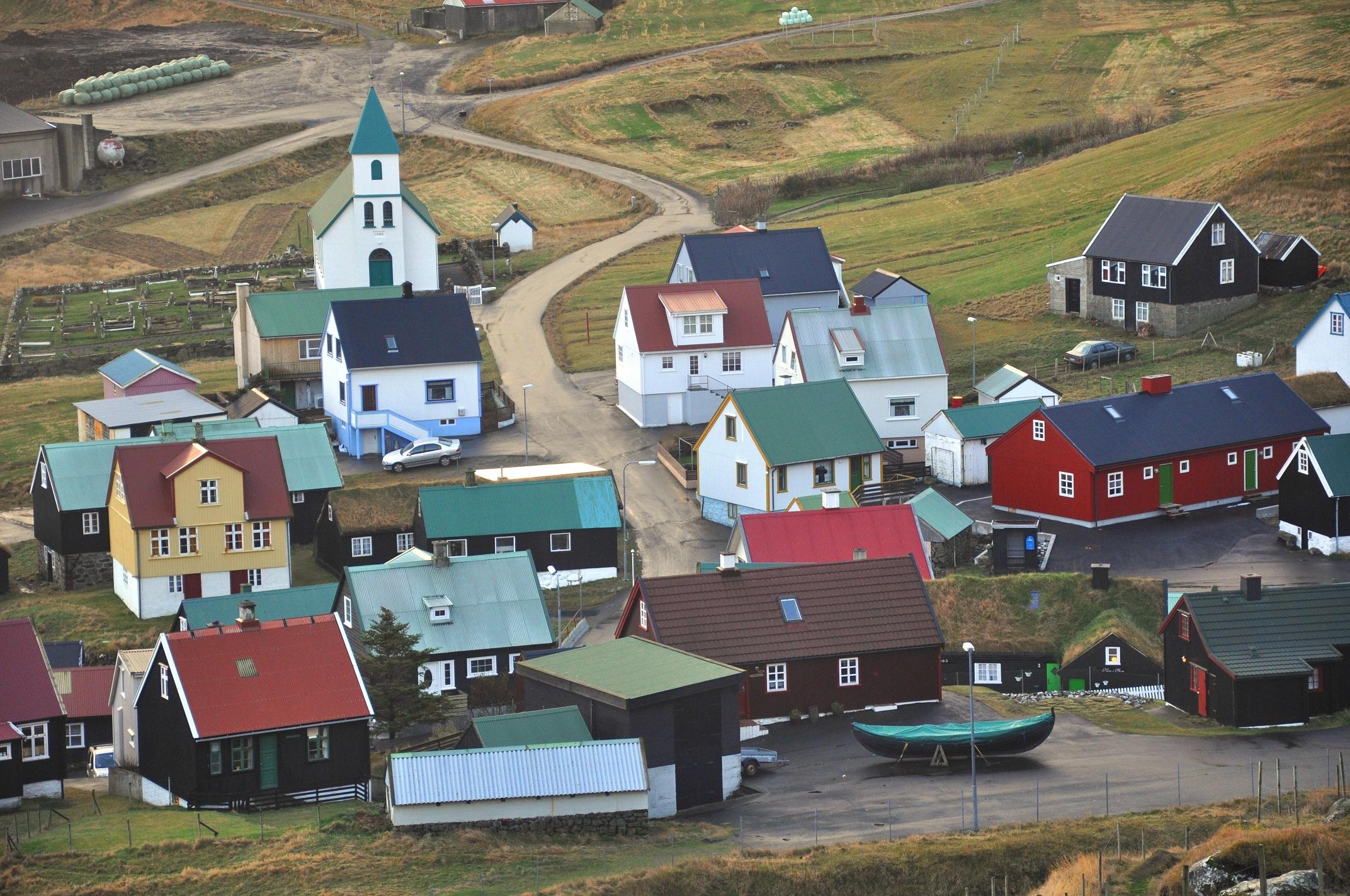 Village center of Gjógv, Faroe Islands. Photo taken on October 22, 2010.