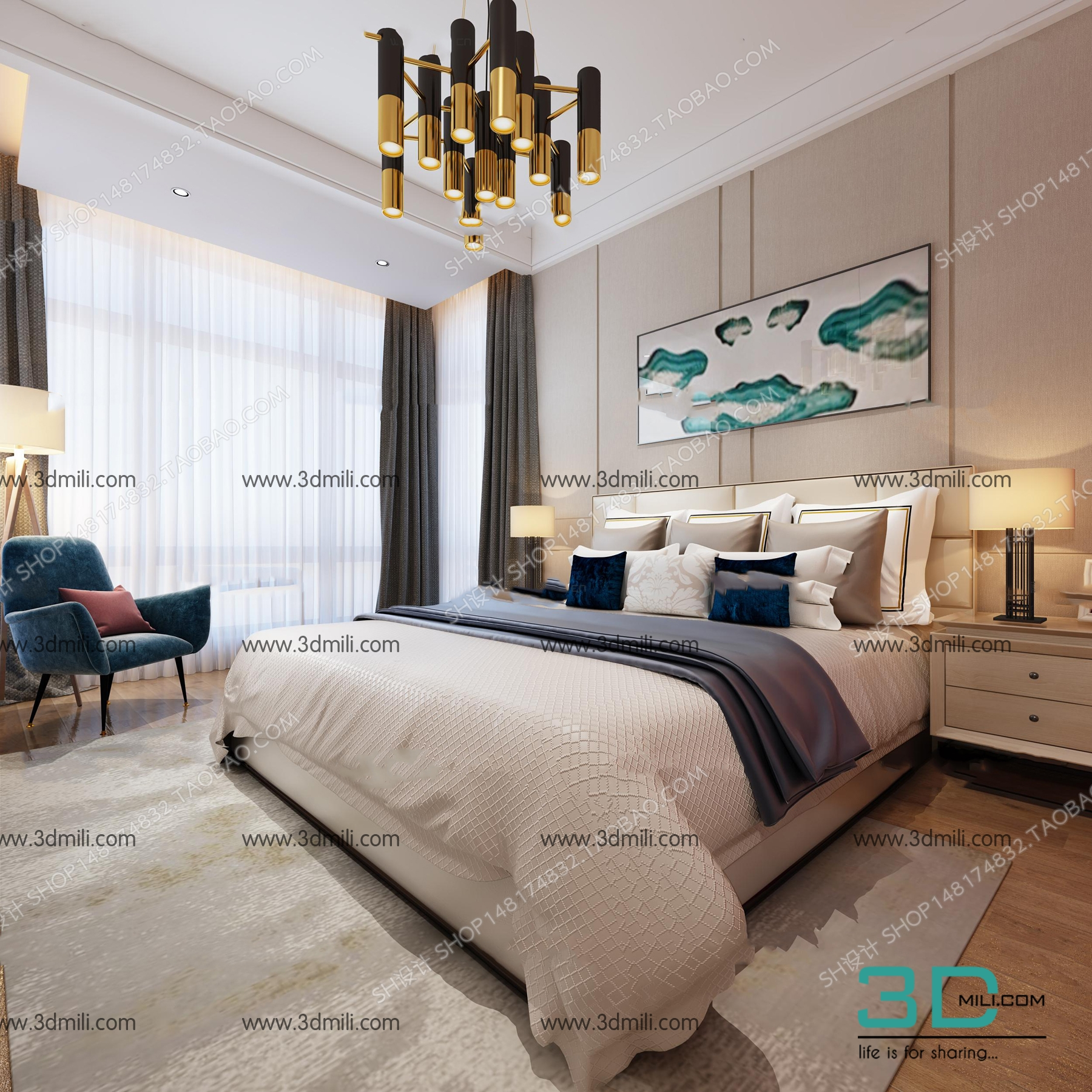 . 18 SELL Album Bed Modern style 03   3D Mili   Download 3D Model   Free 3D  Models   3D Model Download