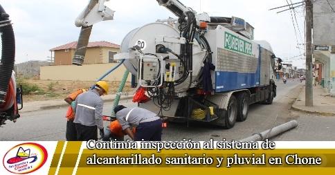 Continúa inspección al sistema de alcantarillado sanitario y pluvial en Chone