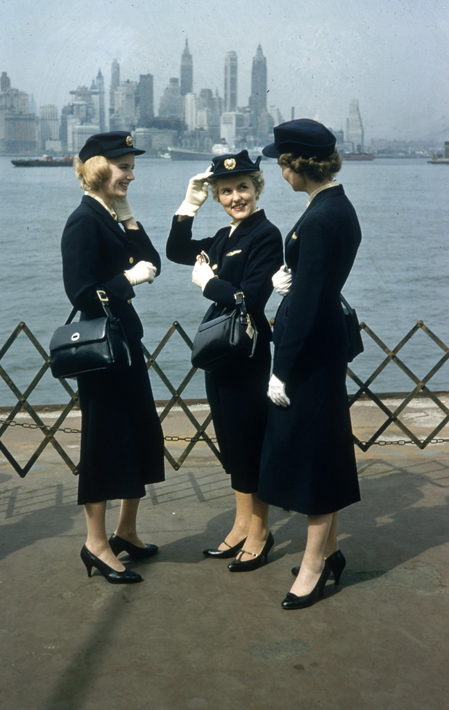 A trio of Scandinavian Airlines System (SAS) flight attendants visiting New York in 1958. (Peter Stackpole-The Life Picture Collection-Getty Images)