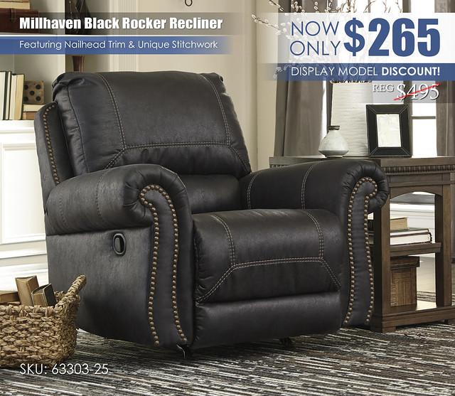 Millhaven Black Rocker Recliner 63303-25