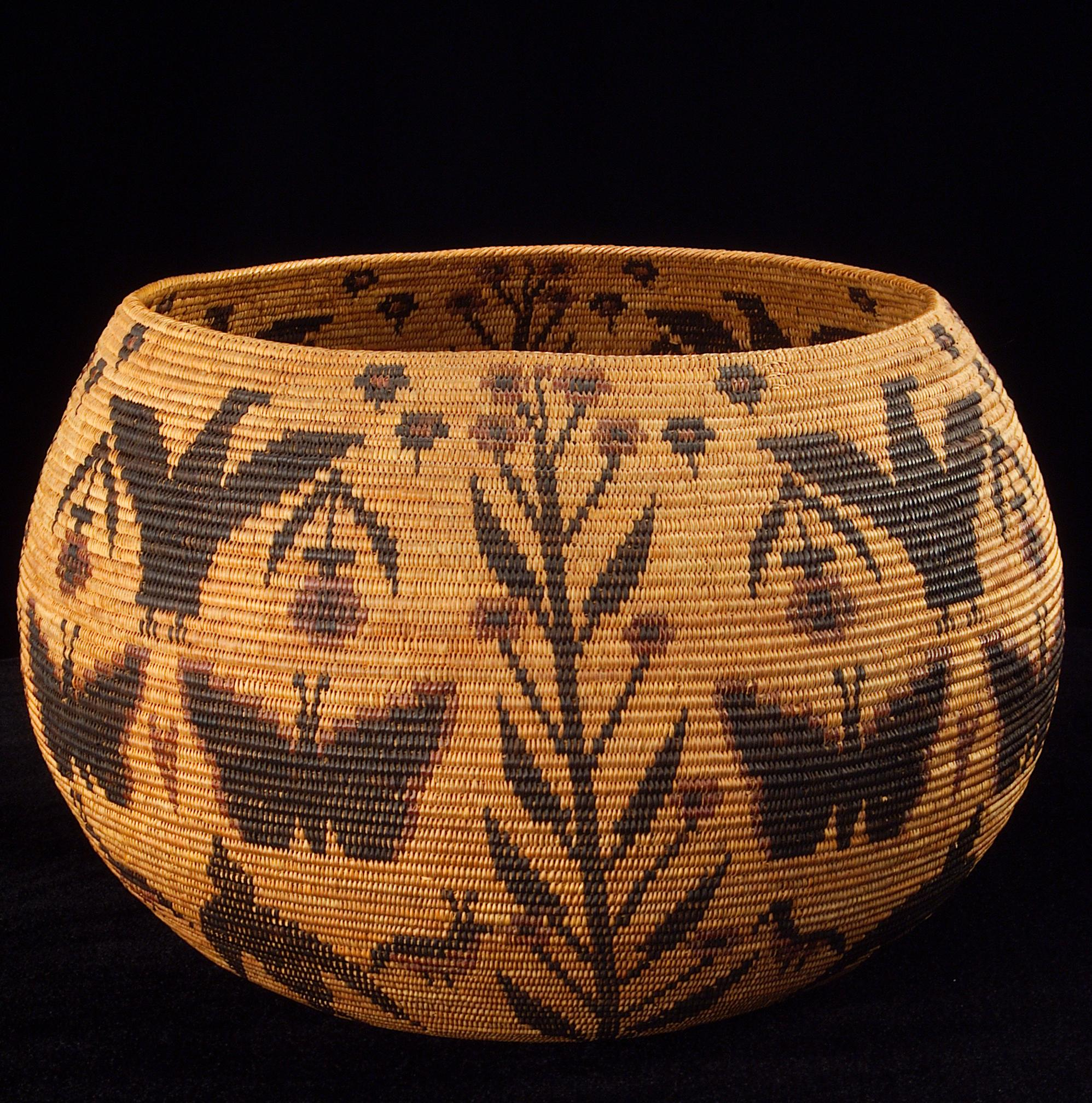 A basket woven by Mono Lake Paiute - Kucadikadi (Northern Paiute) and Southern Sierra Miwok (Yosemite Miwok) artisan Lucy Telles. In the collection of the Smithsonian's National Museum of the American Indian.