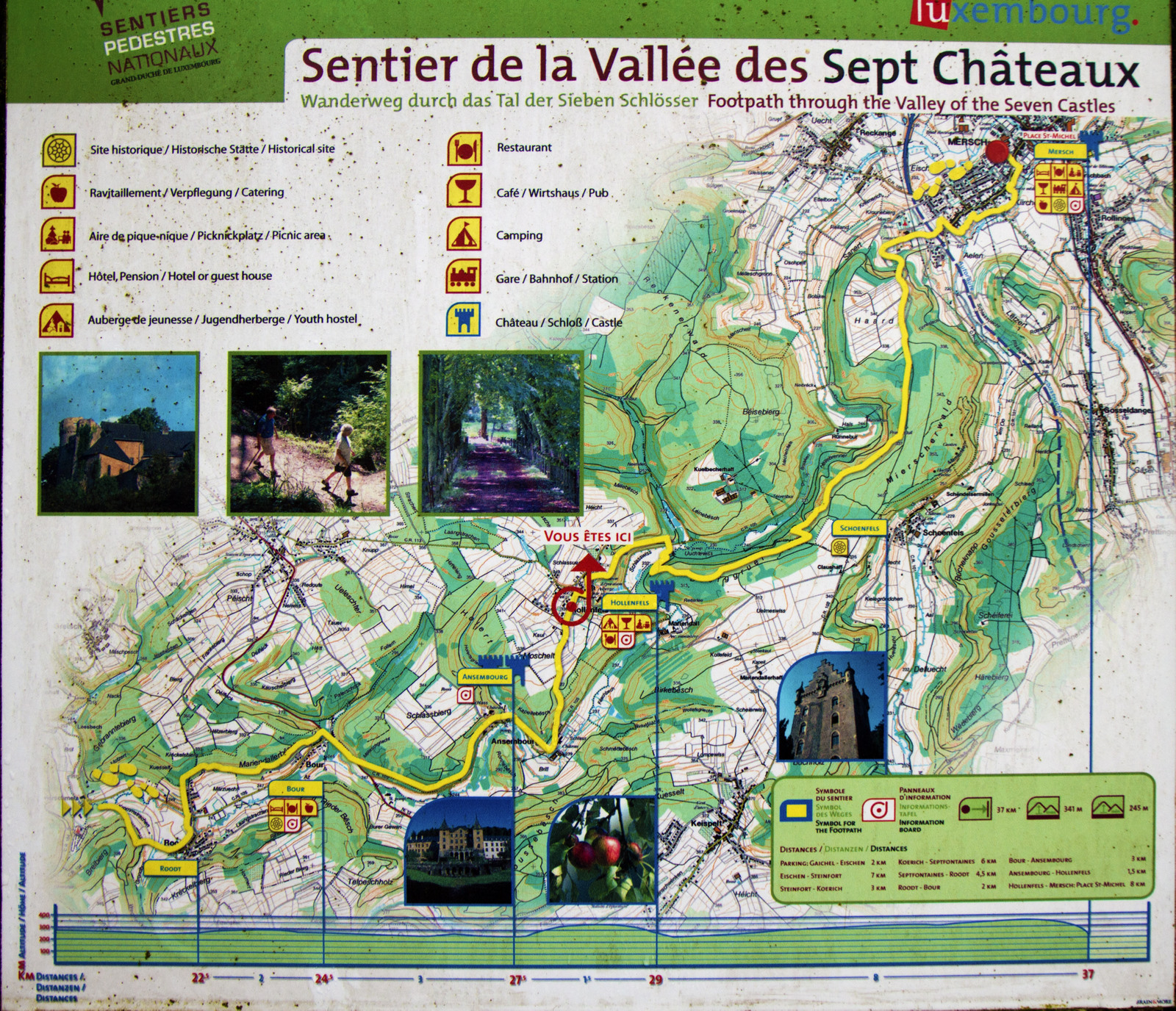 Map of the Valley of the Seven Castles, Luxembourg