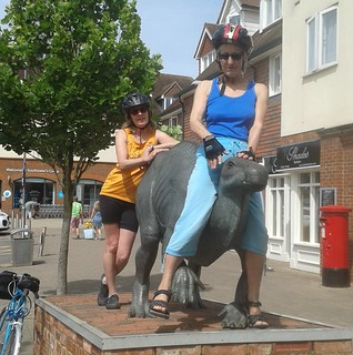 Wendy and Sikka riding the iguanodon
