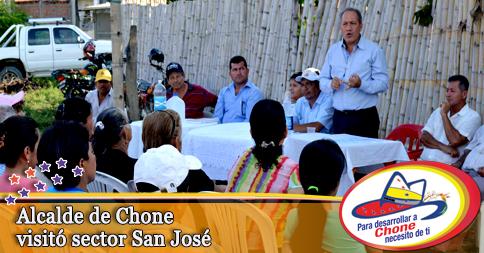 Alcalde de Chone visitó sector San José