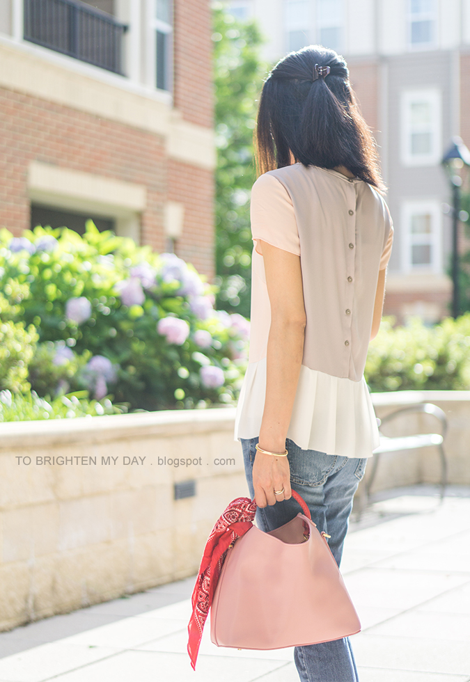 colorblocked peplum top, girlfriend jeans, pink tote with red bandana