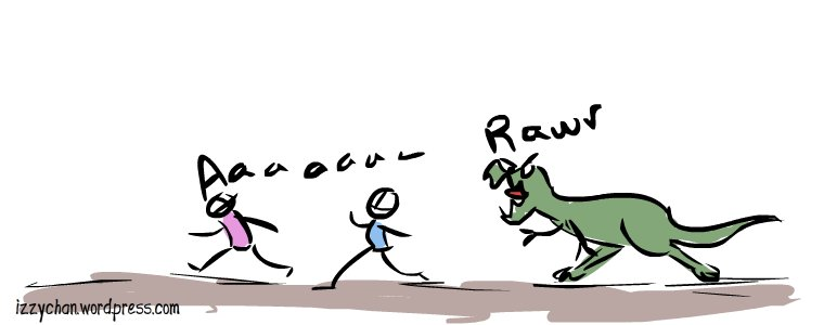 running from dinosaur
