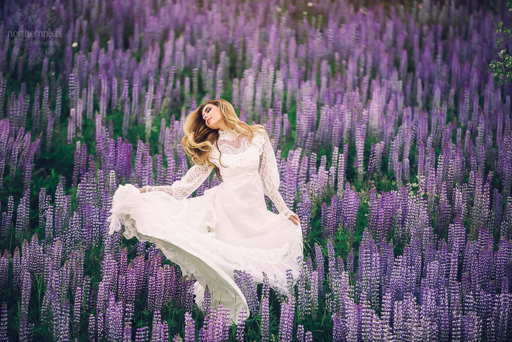Lupine Wildflower Fashion Photography, Prince George BC Vintage Wedding Dress